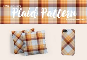 Grey and Orange Plaid – Large Format for Print on Demand