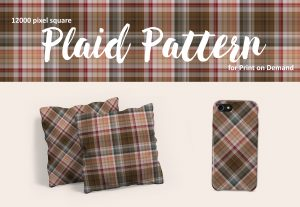 Neutral Dark Brown and Peach Plaid for Print on Demand