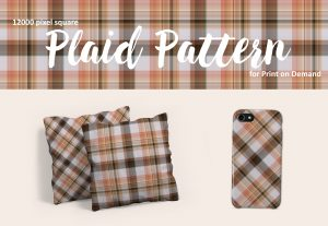 Neutral Brown and Peach Plaid Pattern for Print on Demand