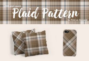Neutral Brown and Blue Plaid Pattern for Print on Demand