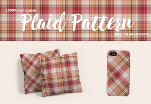 Red and Tan Plaid Patterns – Large Format for POD