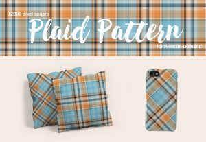 Blue and Orange Plaid Patterns – Large Format for POD