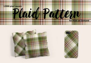Green and White Plaid Patterns for Print on Demand