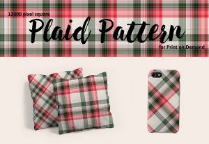 Red, Green, and White Christmas Plaid for Print on Demand