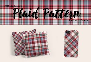 Red, Blue, and Green Plaid Pattern for POD
