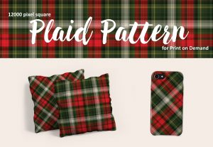 Christmas Plaid in Red and Green for POD – Royalty Free