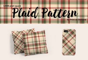 Vintage Christmas Plaid in Red and Green for POD